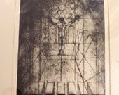 "REDUCED Rare Early Etching by J. Kirk Richards ""Cathedral"""
