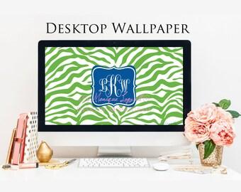 Green Zebra Blue Senter Monogram Desktop Wallpaper
