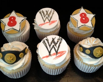 Pro Wrestling Inspired Fondant Cupcake Toppers