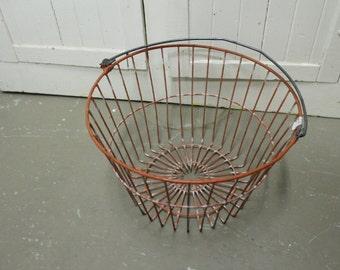 Vintage Farmhouse Orange Metal Wire Egg Gathering Basket