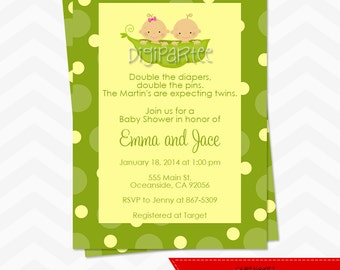 Two Peas In A Pod Baby Shower Invitation - TWINS
