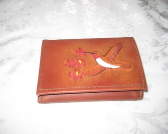 Leather bi fold wallet with hummingbird, vintage brown leather wallet