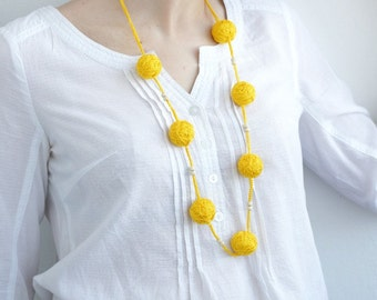 Yelow textile necklace wooden beads rustic summer