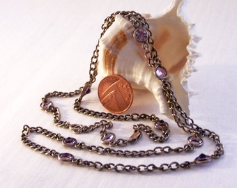 Vintage Silver Purple Chain, Paste Necklace, Long Silver Necklace, Muff Chain, Lorgnette Chain, 29 Inches, Layaway Available, Free Delivery