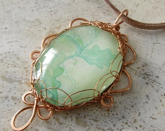 Copper Wire Wrapped Necklace Elegant Nature Jewelry Oak Leaf  Green Abstract Art Pendant One of a Kind Unique