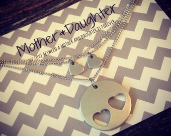 Mothers Day - Hand Stamped Mother Daughter necklace set