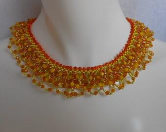 Mimosa, OOAK beadwoven collar