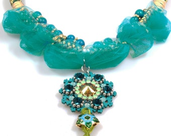 Big bib necklace emerald green thick cord and tulle  - gypset statement necklace with Swarovski pendant - Ibiza boho style