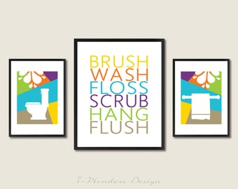 Teens Kids Bathroom Art Prints Brush, Wash, Floss ... Set of (3) 2-5X7'S AND 8x10 - Multi-Color // Teens Big Kids Bathroom Wall Art