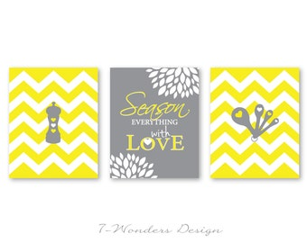 Kitchen Art Season Everything With Love Inspirational Prints With Chevrons Set Of 3