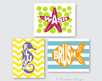 Kids Bathroom Art Prints for Girls / Boys - Wash, Brush, Flush Set of (3) 5 x 7's OR 8 x 10's // Childrens Kids Bathroom