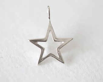 Sterling Silver Star Charm 02 - 925 silver, open shooting star pendant