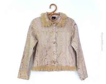 SALE 90s jacket with fur collar, fur collar jacket, vintage size 38 jacket