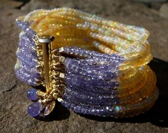 Welo Ethiopian Opal Bracelet, Yellow Opal Bracelets, Opal and Tanzanite Bracelet, Opal Bracelet, Yellow and Purple Jewelry, Opal Jewelry