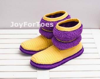 Womens Boots Purple Yellow Shoes Crochet Slippers Crocheted Boots Slippers joyfortoes for the Home Cozy house shoes Unisex Boots Home Clogs