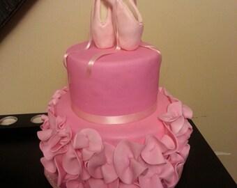 pointe shoe ballet cake topper ballerina dancer ballet gumpaste edible sugar pink teal swan lake