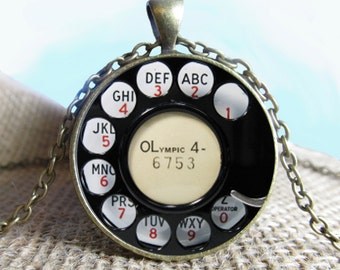 Vintage Rotary Phone Dial Pendant Necklace, Phone Dial, Glass Photo Pendant, Necklace Gift, Gift, Photography Gift, Photography, Jewelry