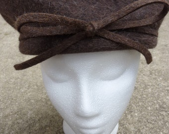 Mod Beret Brown Wool Vintage Structured Military Style Cap by Joe Bill Miller Made in USA 1970s