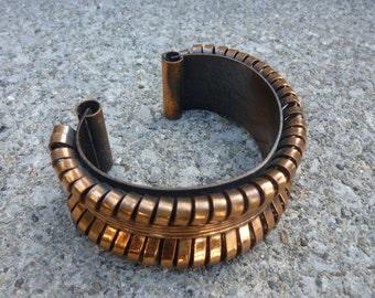 SALE Vintage Copper Bracelet 50s Cuff Style Bangle Copper Ribbon Design