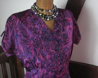 1950s Purple Taffeta Party Dress.................. size Large
