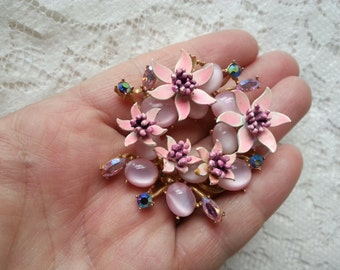 VINTAGE CORCRAFT Floral Wreath Brooch Scarf Brooch Enamel Moonstone Aurora Borealis Shabby Chic Country Gal Gift for Gardeners Nature Lovers
