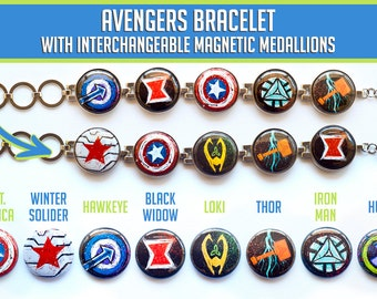 Avengers Bracelet // Magnetic Avengers Bracelet // Loki, Thor, Black Widow, Iron Man, Hawkeye, Captain America, Winter Soldier, The Hulk