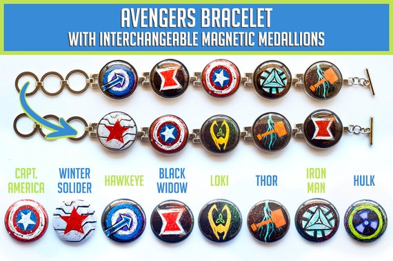 Avengers Interchangeable Charm Bracelet by Pepper's Pins