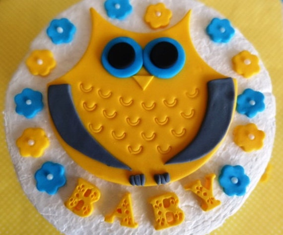 Cake Decor Group : Fondant Owl flowers edible cake decorations Owl Theme Baby