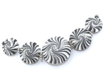 Craft Supplies, focal beads in stripes pattern, swirl lentil beads in black, white, gray and silver, set of 5 elegant beads
