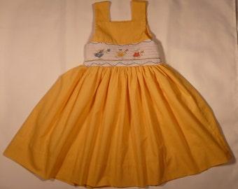 Hand smocked dress with bunny rabbts