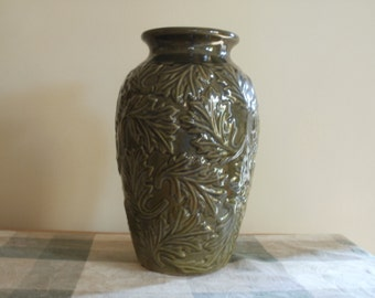 Olive Green Majolica (reproduction) vase