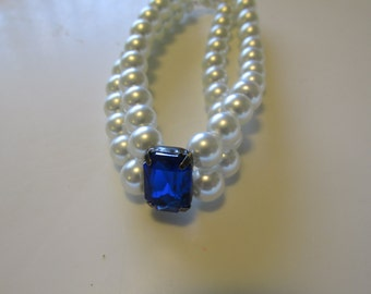 Sapphire and Pearl Bracelet, Two strand Bracelet