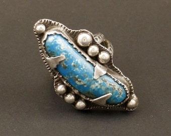 Kingman Turquoise Artisan Sterling Silver Jewelry Handmade  Metalwork Ring