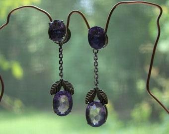 Victorian Sterling Silver Amethyst Pierced Earrings
