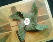 Wool tweed pinwheel brooch