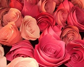 Lot of 65 loose pink hues paper roses, Valentine gift, home or wedding decor