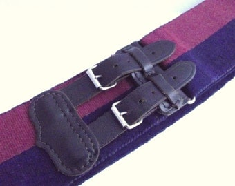 Vintage adjustable wide navy and burgundy stripe canvas webbing English Military belt with double tab leather buckle fastening