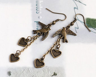 Vintage Style Antique Bronze/Silver Flying Bird Peace and Love Earrings