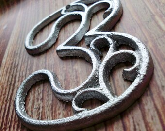 house number three metallic silver cast iron wall hangers decorative victorian decor 45 inches table numbers - Decorative House Numbers