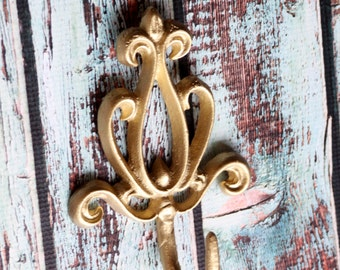 Cast Iron Wall Hook Victorian Decorative Coat Rack Metallic Gold Fleur De Lis Metal Scrolling