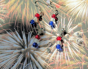 Red white blue earrings  Patriotic earrings CLEARANCE Surgical steel post or wire  4th of July earrings  July 4th earrings Lightweight  65PE