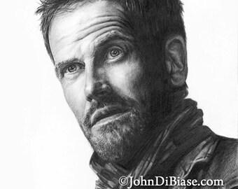 Drawing Print of Jonny Lee Miller as Sherlock Holmes in the TV show Elementary