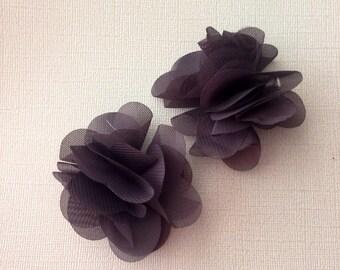Dark grey chiffon hair clips