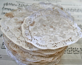 "4"" Grunge French Lace Paper Vintage Doilies, Grunged Up"