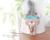 Tiny Bear Plush Friend - Home Decor - Healing Bear - Quartz  Embroidery Bear - Ready to ship