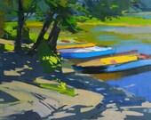 Landscape Painting Print, Impressionist Abstract Print, Boat Print, Abstract Modern Art Print Wall Art Canvas
