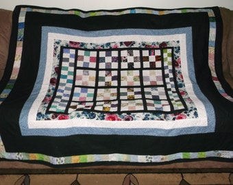 Colorful Nine Patch Couch Quilt/Throw (FREE SHIPPING).  Keep warm while trying to figure out your Sudoku puzzle, read a book, or watch TV.