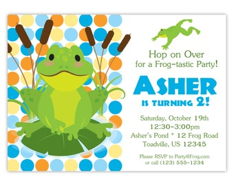 Frog Invitation - Blue, Orange and Yellow Polka Dots, Cute Lime Green Toad Frog Personalized Birthday Party Invite - Digital Printable File