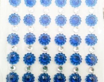 Deco Rhinestone sticker sparkling cell phone bling kawaii flower blue stripes