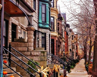 Brownstone Buildings-Lincoln Park -8 x 10 FIne Art Photography-Home Decor-Office Decor-Chicago Wall Art